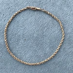 """Jewelry - Solid 14k Yellow Gold 7.5"""" Vintage Rope Bracelet"""